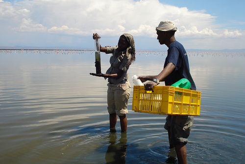 Earthwatch scientists sampling water, Kenya