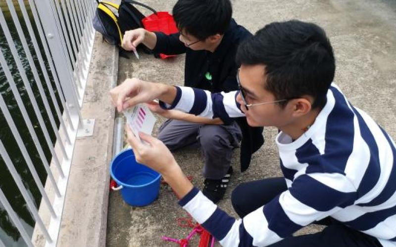 Student were measured by using N and P kits at Shing Mun River.