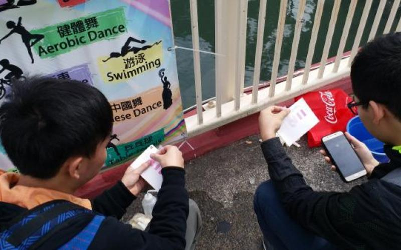 Student were measured by using N and P kits at Lam Tsuen River.