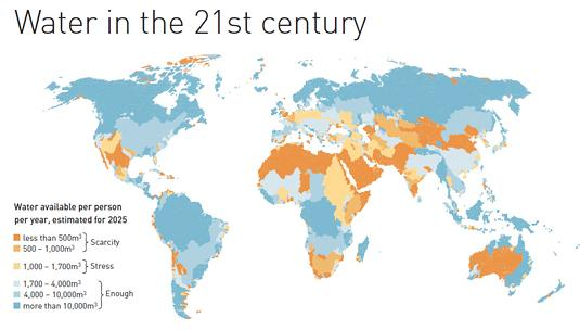 Predicted water availability per person in 2025, source: United Nations Environment Programme