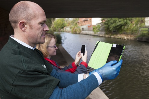 FreshWater Watchers upload data from a city canal